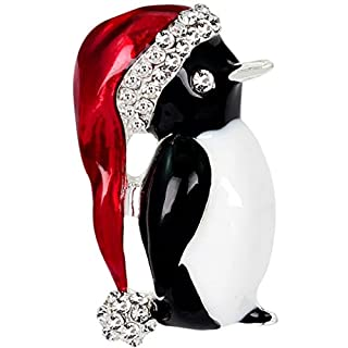 Aikesi Brooch Cute Exquisite Crystal Alloy Penguin Brooch Xmas Decoration Christmas Gift for Women Silver