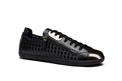 Chaussures de Ville A Lacets en Cuir Mode Sneakers Basses Homme 1819-1Noir