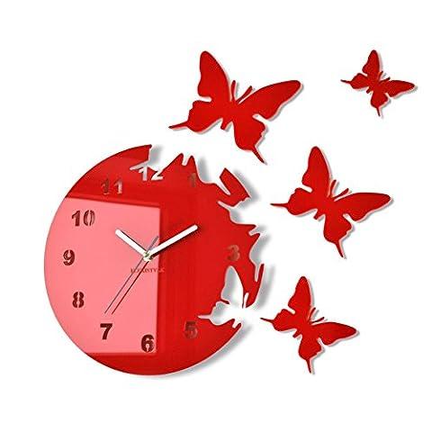 Große moderne Wanduhr Schmetterling Rot rund 30cm, 3d DIY, Wohnzimmer, Schlafzimmer, Kinderzimmer