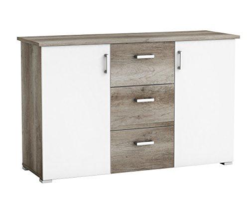 Aparador o mueble auxiliar color roble y blanco brillo moderna para comedor, salon o habitacion 78x124x42 cm