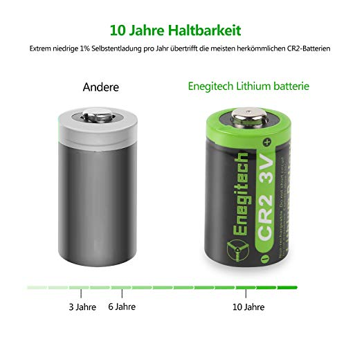 Enegitech CR2 3V 800mAh Lithium-Batterie mit PTC-Schutz DL-CR2 für Baby-Monitor, Golf-Entfernungsmesser, Instax-Drucker, Taschenlampe, Laser-Schussprüfer, Fujifilm Instax Mini55, Digital Camera-6 Pack