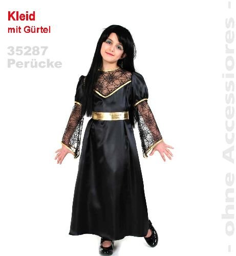 Schwarzer Engel Vampir Dracula Halloween Mädchen Kleid 1tlg. Gr. 164
