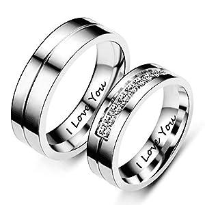 Beydodo 2 Edelstahl Eheringe Paarpreis I Love You Zirkonia Rund Verlobungsringe Trauring Silber Ringe Paare