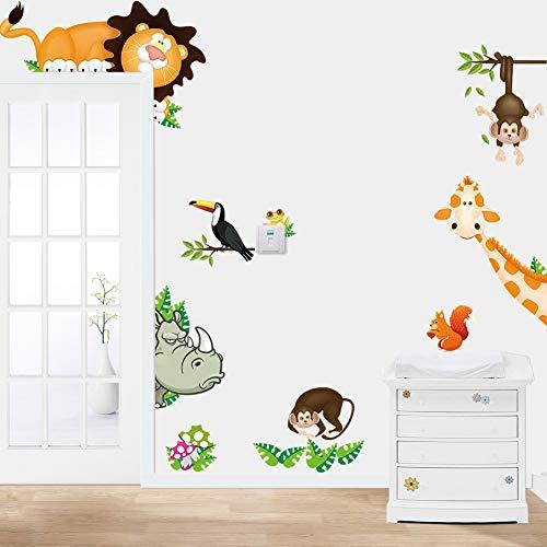 Wandaufkleber Kinderzimmer Cute Animal lebt in Ihrem Zuhause DIY Wandaufkleber/Home Decoration Dschungel Wald Thema Tapete/Geschenke für Kinderzimmer Dekoration Aufkleber