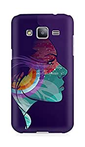 Amez designer printed 3d premium high quality back case cover for Samsung Galaxy J2 (Abstraction vector girl headphones)