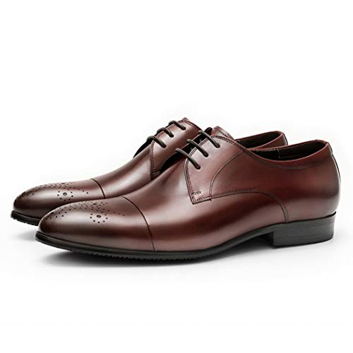 Junge Leute Bestnote Formales Kleid Business Schuhe Männer Klassische Brogues Oxford Schuhe Handgefertigte Leder Lace-up Casual Schuhe,Brown,38EU -