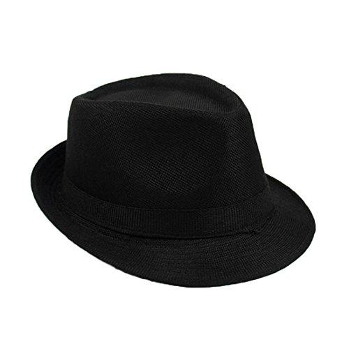 Mädchen Fedora Frauen Trilby Hut Weihnachten Geschenk Schwarzes Fedora Damen Hipster Retro Hut (Black)