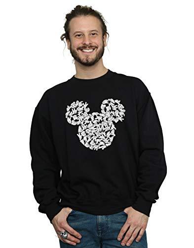 Disney Herren Mickey Mouse Head of Hands Sweatshirt Schwarz X-Large