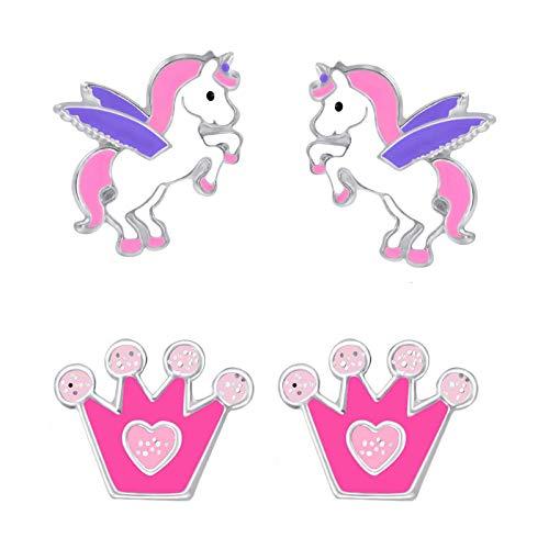 FIVE-D 2 Paar Kinder Ohrringe Einhorn und Glitzer Krone aus 925 Sterling Silber im Schmucketui (Rosa-Lila-Pink)
