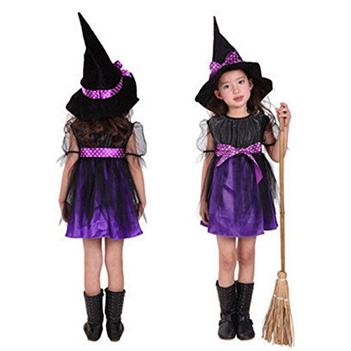 EUZeo Kinder Baby Mädchen Halloween Kleider Kostüm Kleid Party Kleider Hut Outfit Kostüm Set(90-160) (160, (Halloween Baseball Spieler Kostüme)