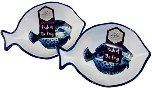 The English Tableware Company Kleine Schale aus Keramik, nautische Fische, 2 Stück -
