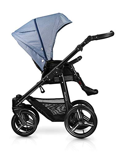 Venicci Shadow 3-in-1 Travel System - Midnight Blue - with Carrycot + Car Seat + Changing Bag + Apron + Raincover + Mosquito Net + 5-Point Harness and UV 50+ Fabric + Car Seat Adapters + Cup Holder Venicci 3 in 1 Travel System with included Group 0+ Car Seat Suitable for your baby from birth until 36 months 5-point harness to enhance the safety of your child 3