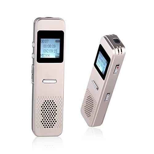 Digitaler Diktiergeräte, Peficecy 8 GB MP3 Player, tragbar, multifunktionaler, wiederaufladbarer Diktaphon Rekorder für Interview, Sitzung, Vorträge, Klasse (S5 Gold)