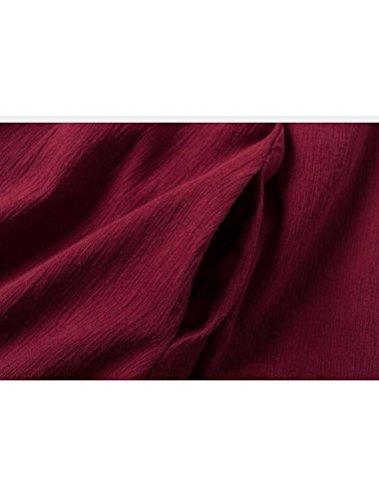 MatchLife Femme Robe Maxi Avec Broderie Fleurie Manches Longues Robe Tops Rouge Bordeau