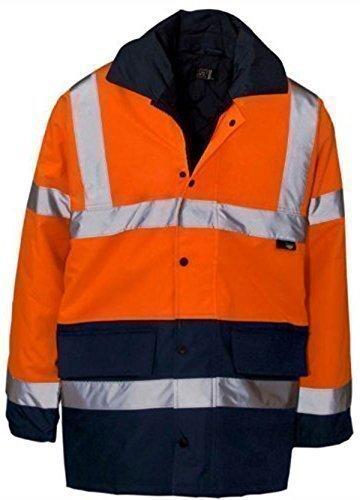 Veste haute visibilité parka pour hommes longueur 3/4 bandes réfléchissantes étanche imperméable sécurité travail EN471 Orange/Bleu marine