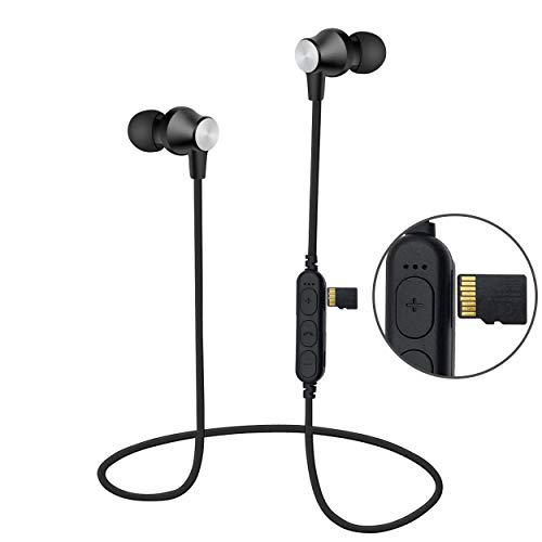 Auricolari Bluetooth Magnetici con lettore file MP3, Cuffie Wireless Magnetiche Sport Palestra cancellazione del rumore e microfono integrato, AREABI Falcon, per Smartphone  iPhone  Android  Samsung