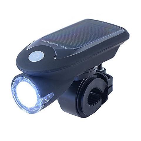 XCSOURCE Lumière LED Alimentation Solaire Etanche USB Rechargeable Phare Avant Lampe Cycle de Phare Vélo Bicyclette CS343