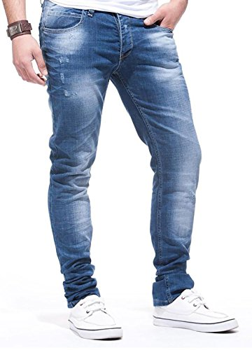 LEIF NELSON Herren Jeanshose Jeans Hose Chino Low Rise Skinny Slim Fit (W34/L34, Blau)