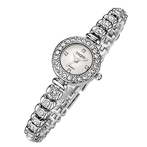 Unbekannt WF Damen Analog Quarz Uhr mit Edelstahl Armband Damen-Uhren