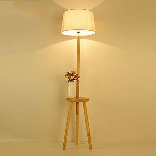 MEHE@ mode personnalité créatif Lampes de plancher simples nordiques modernes Salon de l'étude de la chambre décoration de chevet lampe de sol en tissu de bois massif Lampadaires