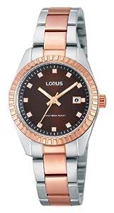 Lorus Classic - Reloj de cuarzo para mujer, con correa de acero inoxidable chapado, color multicolor de Lorus