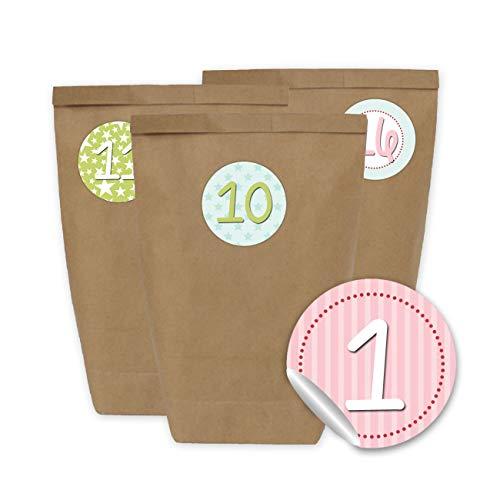 DIY Adventskalender zum Befüllen - mit 24 braunen Papiertüten und 24 pastellfarbigen Aufklebern - zum Selbermachen und Basteln - Mini Set Nr 25 - Weihnachten 2019 für Kinder