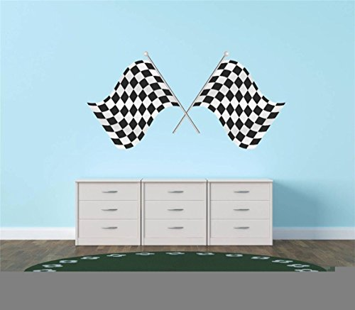 Flag Transfer (wandaufkleber 3d schlafzimmer Best Selling Cling Transfer : Auto & Motorcycle Racing Flag Black/White Checkered Race Car Championship Winner : 12 Inches X 24 Inches)