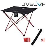 JVSURF Mesa de camping plegable para exteriores, tamaño mediano, tejido Oxford, portátil, ligera, para camping, picnic, al aire libre, con bolsa de transporte, color rojo