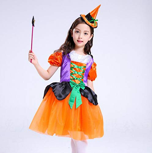 Hexe Kürbis Mädchen Kostüm - SMACO Halloween Mädchen Kürbis Kleid Kleid Kinderkostüme Kostümball Kürbis Hexe Kostüme Süße Mädchen Cosplay,A,90CM