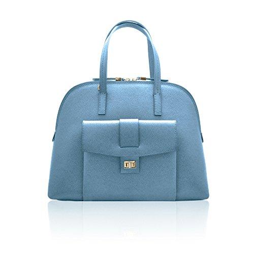 GEMMA Sac épaule, Sac forme bowling Satchel avec poche extérieure en cuir de grainé rigide, fabriqué en Italie Bleu clair