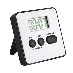 Minuteur de cuisine digitale - Timer jusqu'à 99min - Blanc - affichage LCD - avec sonnerie d'alarme et support magnétique
