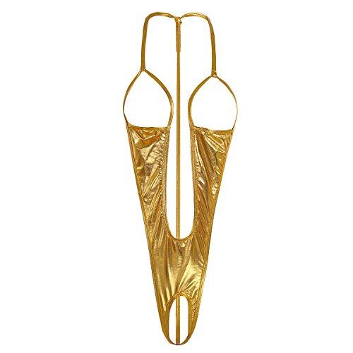 YiZYiF Damen Einteiliger Badeanzug Push up String Tanga Bikini Öffene Schirtt Stringbody Erotik Dessous Damenbody Gold One Size