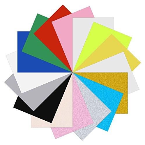 WEIWEITOE Wärmeübertragung Vinyl, 15 Farben DIY T-Shirt Aufbügeln Wärmeübertragung Vinyl Rolle für Silhouette Cameo, Cricut mit Hitze Presse Werkzeugmaschine (Bunte)