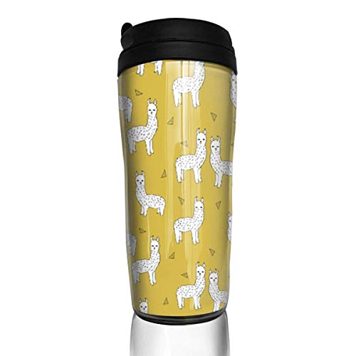 Travel Coffee Mug Alpaca Mustard Yellow 12 Oz Spill Proof Flip Lid Water Bottle Environmental Protection Material ABS