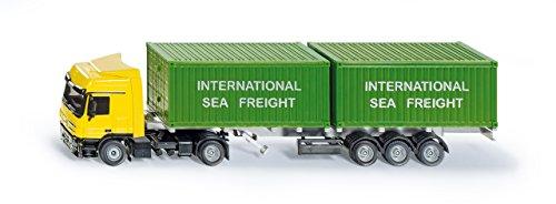 SIKU 3921, LKW mit Container, 1:50, Metall/Kunststoff, Gelb/Grün, Inkl. 2 Container, Variierbare Anhängerlänge