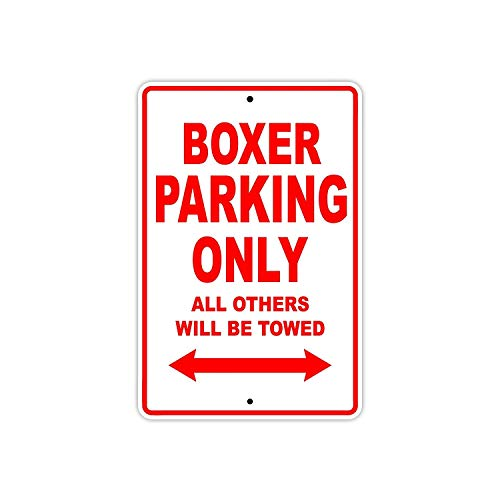 """DKISEE Aluminum Safety Sign Big Dog Boxer Parking Only Towed Motorcycle Bike Chopper Durable Rust Proof Warning Sign Aluminum Metal Sign 8\""""x12\"""""""