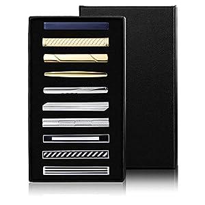 Adramata 10 Stücke Krawattenklammern für Männer Krawattenstange Set für Hochzeit Business Krawattennadeln mit Geschenkbox