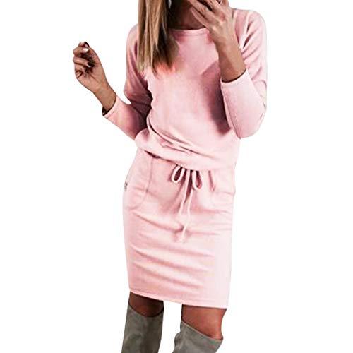 iHENGH Damen Frühling Sommer Rock Bequem Lässig Mode Kleider Frauen Röcke beiläufige Lange Hülse, figurbetontes Minikleid Damen Herbst Tunika Party ()