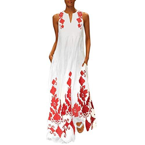 LSAltd Mode Frauen Blumendruck Gefaltete Schaukel Plus Größe Langes Kleid Sommer Beiläufige Ärmellose Tägliche Maxi Kleid