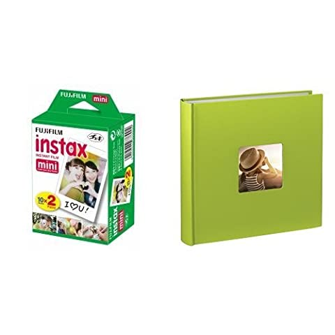 Fujifilm Instax Mini Film (40 Aufnahmen) Multipack + Hama Jumbo Fotoalbum Fine Art (30 x 30 cm, 100 Seiten, 50 Blatt, mit Ausschnitt für Bildeinschub) hellgrün
