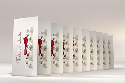 """Weihnachtskarten mit Brief-Umschlag, 10er Set Motiv """"Pure Silver"""", Klappkarten selbst bedruckbar"""