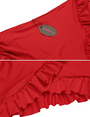 Avidlove Strand Rock mit Integrierter Hose Damen Bikinihosen Niedrige Taille Rüschen Kombinierbar Bikini Rock Mini Bottom Mit Short Schwimmshorts Stil 1:Rot