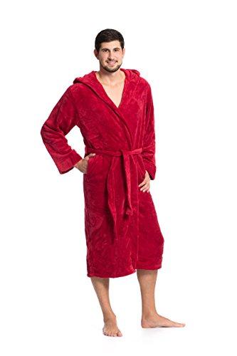 ZOLLNER Bademantel für Damen und Herren, Größe XXL, Mikrofaser, weinrot Rot Damen Mantel