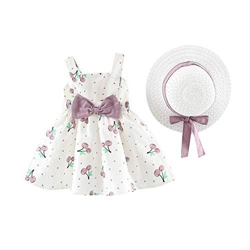 SUNFANY Schöne Kleider für Mädchen Sommer Ärmellos Schöne Blumen Festliches Kostüm Kleiden Prinzessin + Strohhut Gr. 6M-24M(Lila,70/3-6 Monate)