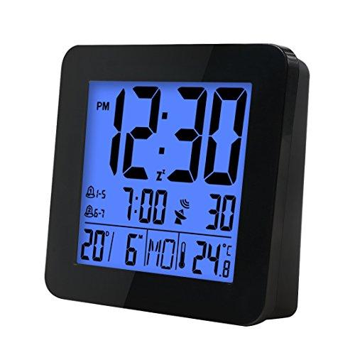 iCKER Funkwecker, Reisewecker, Wecker Digital Funkuhr mit Temperaturanzeige, Große Zahlen, Batteriebetrieben, Automatische Zeitanpassung (Schwarz)