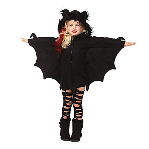 Kobay-baby Mädchen Cartoon Fledermaus Cosplay Halloween Reißverschluss Kapuzenmantel Kapuzen Zip Langarm Jacke (4-5T,130, Schwarz)