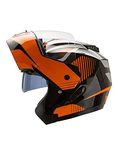 CRUIZER - Casco moto modulare integrale Nero Arancione con doppia visiera a scomparsa, interni antibatterici ed anallergici, chiusura micrometrica cinturino (XL)