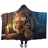 DOTBUY Decke Mit Kapuze Kuscheldecke, Plüschdecke Pelzdecke Decken mit Hoodie 3D Mythos Tiger Print Design für Erwachsene Kind Couch Sofa oder Bett Couchdecke Mikrofaser (200 x 150cm, A)