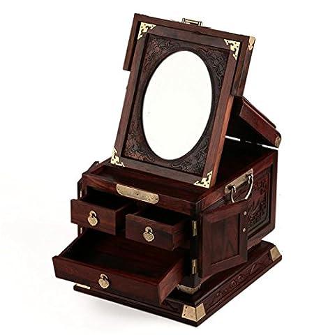 Intricate Boîte à bijoux en bois Organisateur avec main sculpté Fleurs et oiseaux-Oval Mirror-Safe Lock