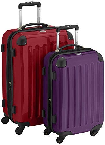 HAUPTSTADTKOFFER - Alex - 2er Koffer-Set Hartschale glänzend, 65 cm + 55 cm, 74 Liter + 42 Liter, Graphit-Blau Rot-Aubgerine